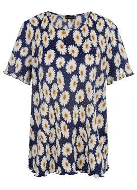 Плиссированная рубашка с цветочным принтом