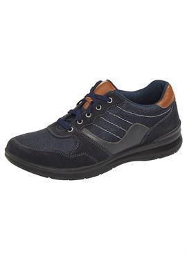 Обувь на шнуровке из кожи и текстиля в сочетании