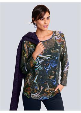 Блузка allover im farbenfrohen Marmor-Dessin