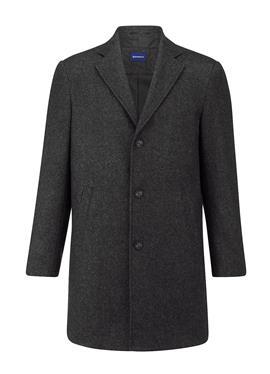 Шерстяное пальто с узором в елочку, окрашенном пряжей