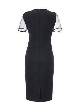 Etui-Kleid с вышивка und transparenten Partien