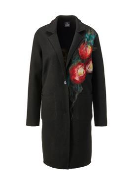 Шерстяное пальто с цветочной вышивкой