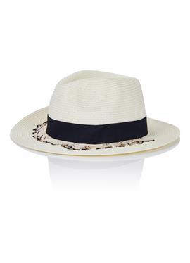 Соломенная шляпа с Federn und breiter Krempe
