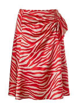 Ausgestellter Seidenrock mit Zebradruck