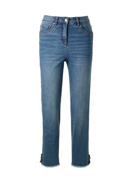 7/8-Jeans mit Seitenzipper und gefranstem Beinsaum