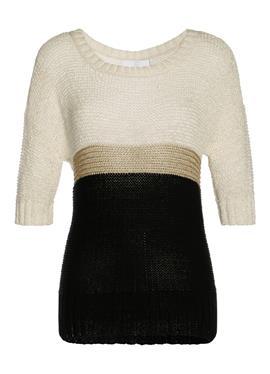 Пуловер с короткими рукавами и люрексом