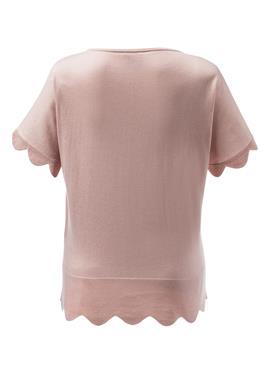 Edler Kurzarm-Pullover mit Bogenkante