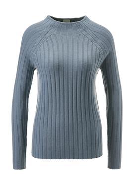 Пуловер с рельефным узором и воротником-стойкой