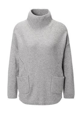 Кашемировый пуловер с стоячий воротник