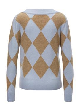 Пуловер с ромбовым узором