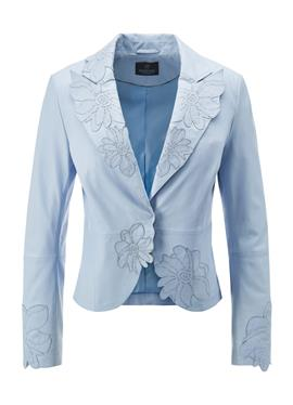 Кожаная куртка с Blüten-Applikationen