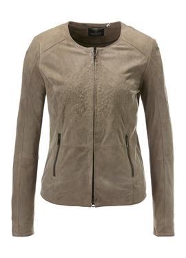 Kragenlose кожаная куртка aus Ziegenvelours с вышивка