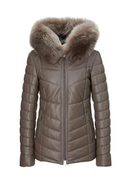 Кожаная стеганая куртка с отделкой из овчины