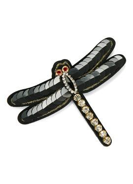 Libellen-Brosche mit Pailletten und Ziersteinen