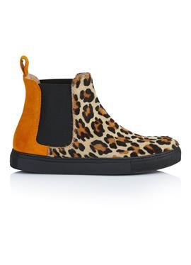 Ботинки на плоской подошве с леопардовым акцентом