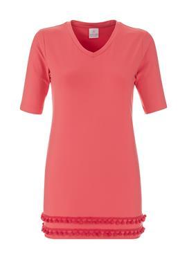 Рубашка с короткими рукавами и декоративным низом