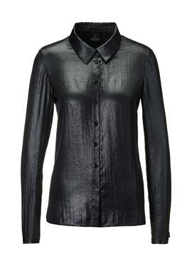 Blusenhemd mit silberfarbenem Folienprint