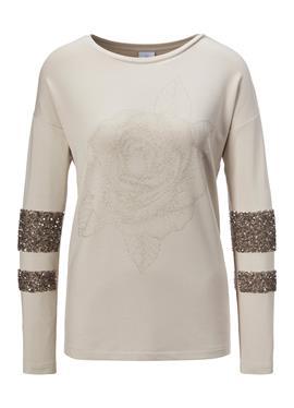 Edel-Shirt mit Glitzer-Print und Pailletten