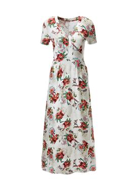 Длинное платье из джерси с V-образным вырезом и короткими рукавами