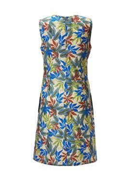 Платье без рукавов с принтом в виде листьев