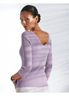 Пуловер с V-образным вырезом на спине и горловине