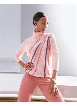 Вязаный свитер с разноцветными полосками