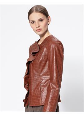 Kragenlose кожаная куртка с Volant