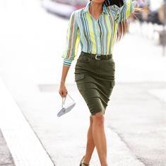 Джинсовая юбка с декоративными карманами карго