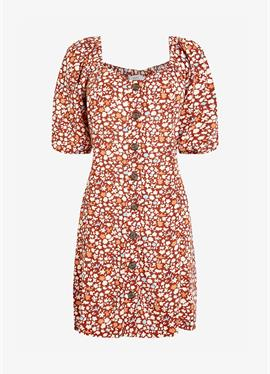 CREAM FLORAL PRINT TIE SLEEVE BUTTON FRONT - платье