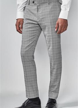 LIGHT GREY SKINNY FIT CHECK SUIT брюки - брюки для костюма