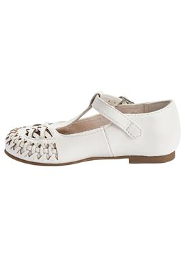 WHITE WOVEN T-BAR SHOES (YOUNGER) - Lauflernschuh