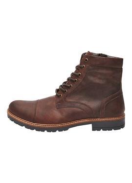 BROWN LEATHER ZIP ботинки - полусапожки на шнуровке