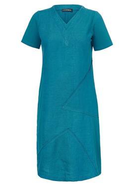 Leinen-Kleid с 1/2 рукава und V-Ausschnitt aus 100%