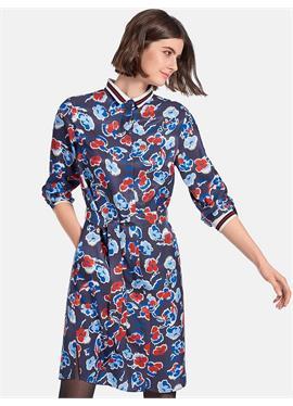 Платье с трикотажным воротником
