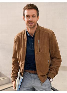 Кожаный блузон с College-Strickkragen