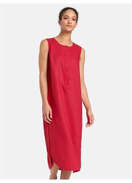 Льняное платье без рукавов