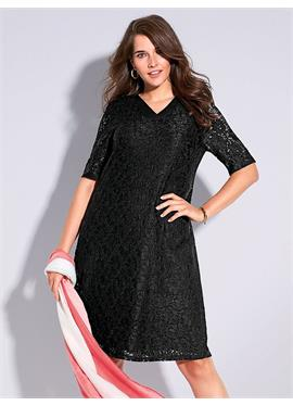 Spitzen-Kleid c v образным воротом
