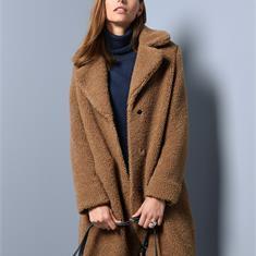 Тедди пальто с лацканами на воротнике