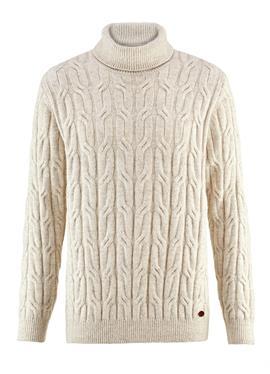 Пуловер с воротником гольф с zweifarbigem Zopfstrickmuster